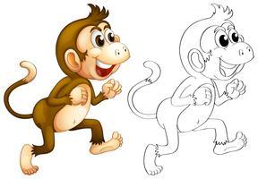Djur skiss för apa promenader