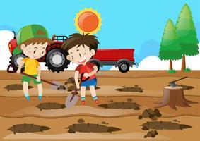 Zwei Jungen graben Löcher auf dem Boden vektor