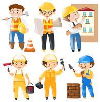 Olika yrken som arbetar på byggarbetsplatsen