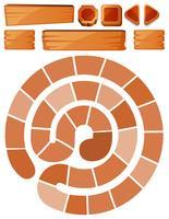 Spielschablone mit Spirale und Holzschildern vektor