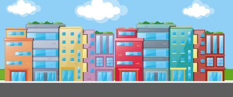 Viele Gebäude entlang der Straße vektor