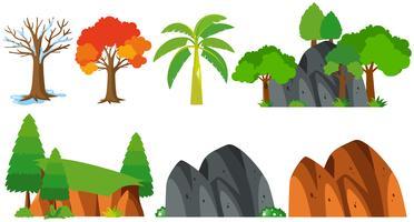 Bäume und Berge auf weißem Hintergrund vektor