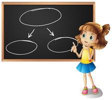 Mädchen und Diagramme an der Tafel vektor