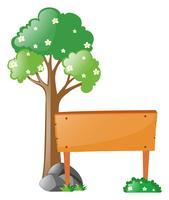 Träskylt bredvid träd vektor