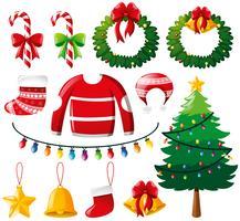 Julprydnader och tall vektor