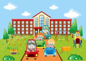 Barn kör bilar till skolan vektor