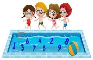 Barn i baddräkt spelar med nummer i poolen vektor