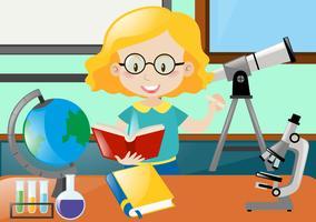 Lärare läser bok i klassrummet vektor