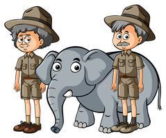 Två parkranger med baby elefant