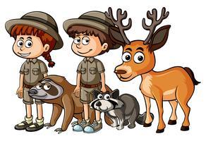Tierpfleger und viele Tiere vektor