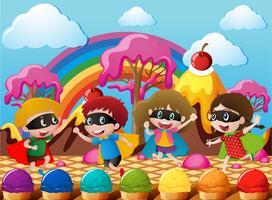 Lyckliga barn i hjälte kostym i candyworld