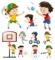Barn gör olika typer av sport