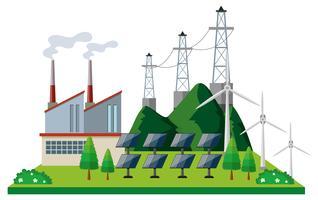 Kraftwerk mit Solarzelle und Turbinen vektor