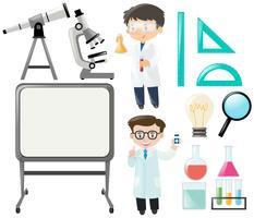 Wissenschaftler und andere Wissenschaftsausrüstung eingestellt vektor