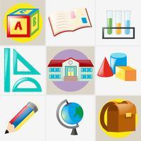 Olika typer av skolmaterial vektor