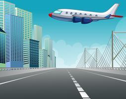 Flugzeug fliegt über die Stadt vektor