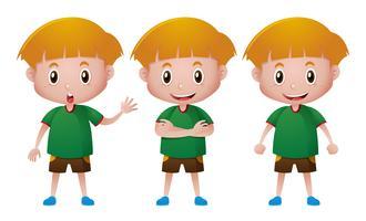 Glücklicher Junge im grünen T-Shirt vektor