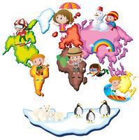 Weltkarte mit Kindern und Tieren vektor