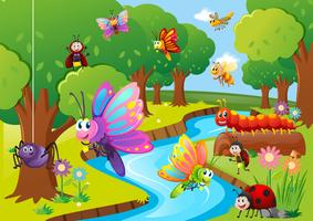 Verschiedene Insekten fliegen über den Fluss vektor
