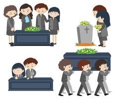 Traurige Leute bei der Beerdigung vektor