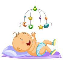 Junge, der bewegliches Spielzeug im Bett spielt vektor
