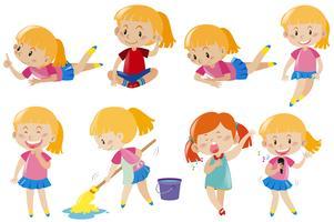 Glad tjej gör olika aktiviteter vektor