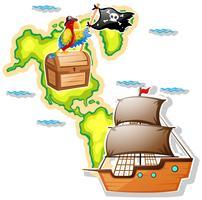 Piratskepp och skattkista på kartan vektor