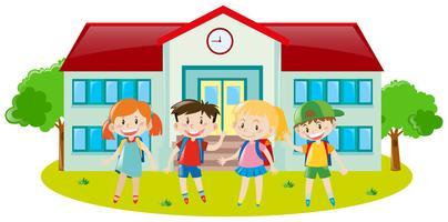 Vier Kinder auf dem Schulgelände vektor