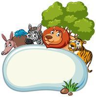 Grenzschablone mit wilden Tieren vektor