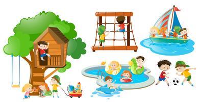 Barn har roligt att göra olika aktiviteter vektor
