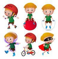 Pojke gör olika aktiviteter vektor