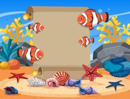 Gränsmall med clownfish och sjöstjärna under vatten vektor