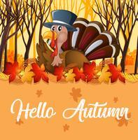 Türkei und orange Herbstschablone vektor