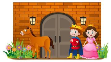 Prinz und Prinzessin im Schloss vektor