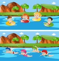 Två scener med barn i floden