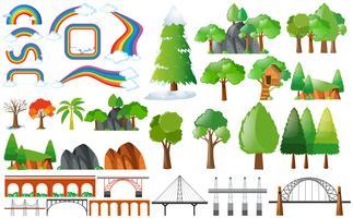 Regenbogen, Bäume und Designelemente