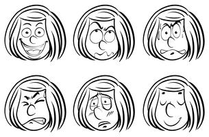 Doodle Girl med olika ansiktsuttryck vektor