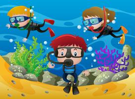 Tre barn dykning under havet vektor