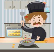 Man kock i svart outfit matlagning vektor