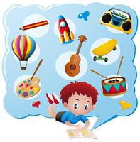 Junge und verschiedene Spielsachen und Sammlungen