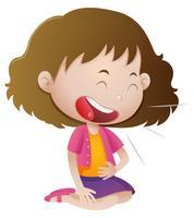 Kleines Mädchen, das alleine lacht vektor