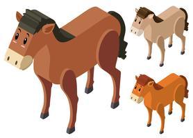 3D-design för hästar i tre färger vektor