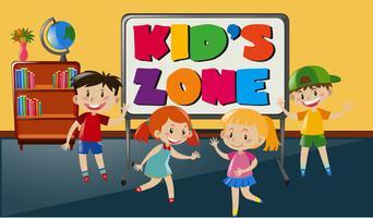 Fyra lyckliga barn i klassrummet vektor