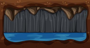 En Dark Underground Water Cave Vector