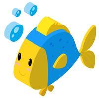 3D-design för fisk som gör bubblor vektor