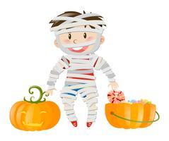 Halloween-Thema mit Jungen im Zombiekostüm