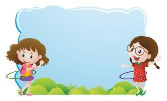 Grenzschablone mit den Mädchen, die Hulahoop spielen