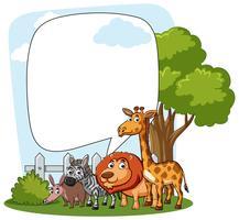 Grenzschablone mit wilden Tieren