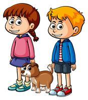 Barn med söt valp vektor