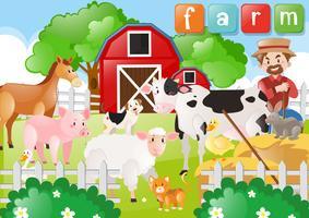 Bonde och husdjur på gården vektor